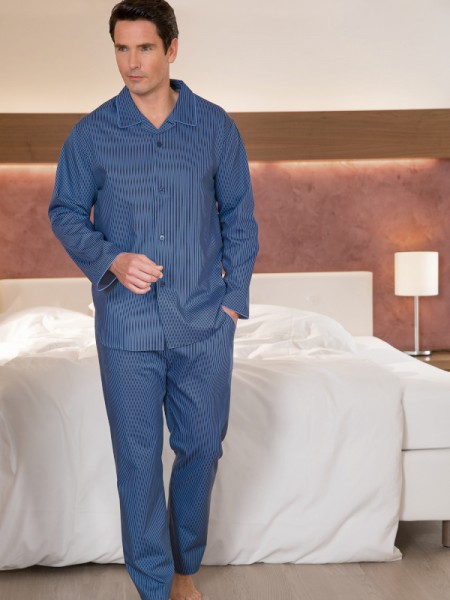 Herren Pyjama Ben blau Streifen NOVILA