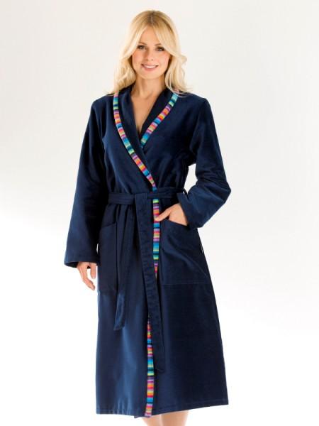 Damen Bademantel dunkelblau mit Schalkragen CAWÖ
