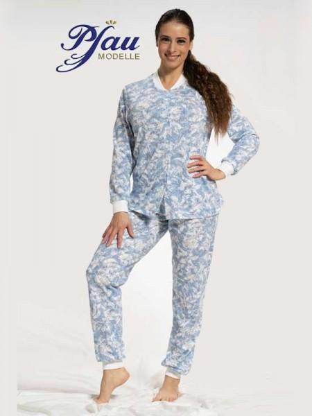 Damen Schlafanzug durchgeknöpft blau weiß PFAU MODELLE