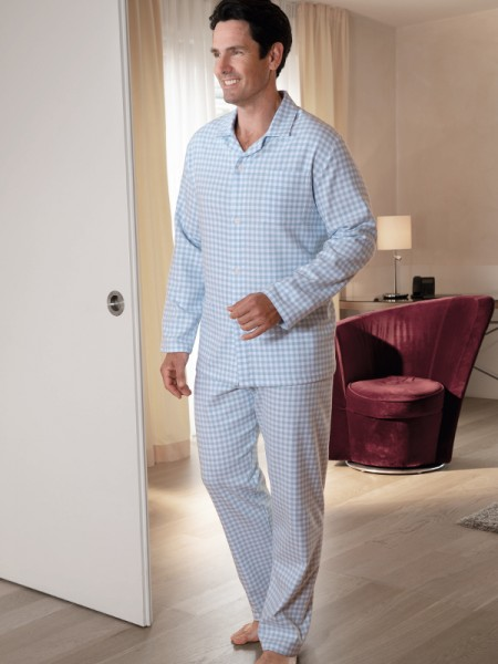 Flanell Pyjama Max für Herren hellblau Karo NOVILA