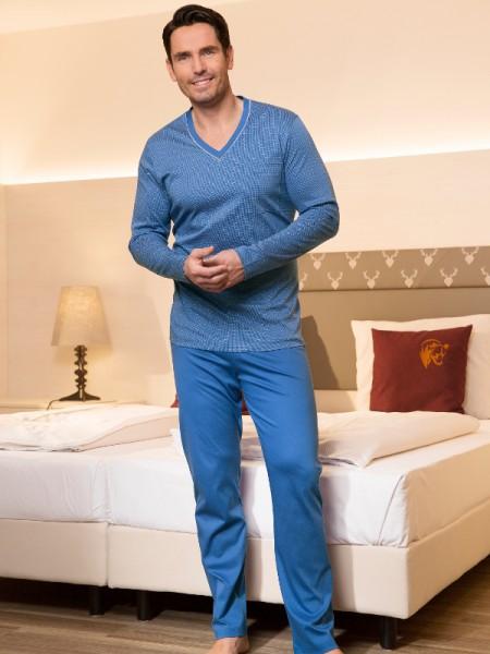Herren Schlafanzug Sir blau gemustert NOVILA