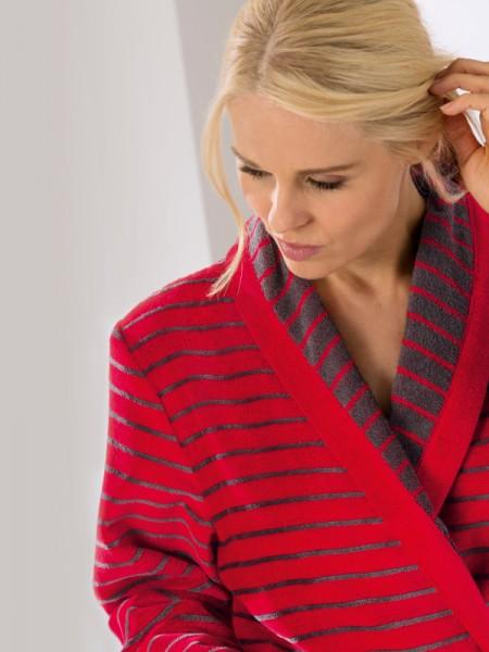 Damen Bademantel Walkvelours rot Streifen CAWÖ
