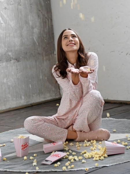 Damen Schlafanzug durchgeknöpft Popcorn - RINGELLA