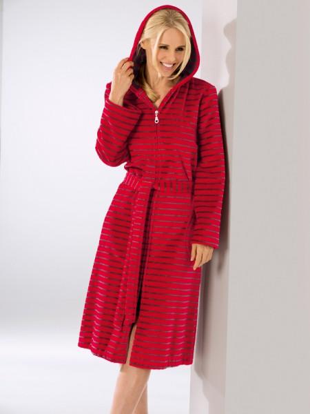 Damen Bademantel Reißverschluß rot CAWÖ