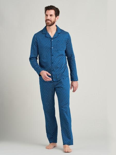 Herren Pyjama Websatin petrol Seidensticker