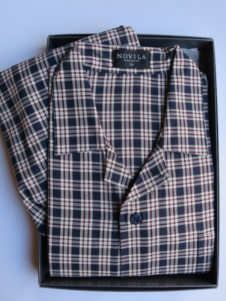 Herren Pyjama Max marine-bordeaux Karo NOVILA