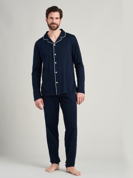 Herren Pyjama Websatin dunkelblau Seidensticker
