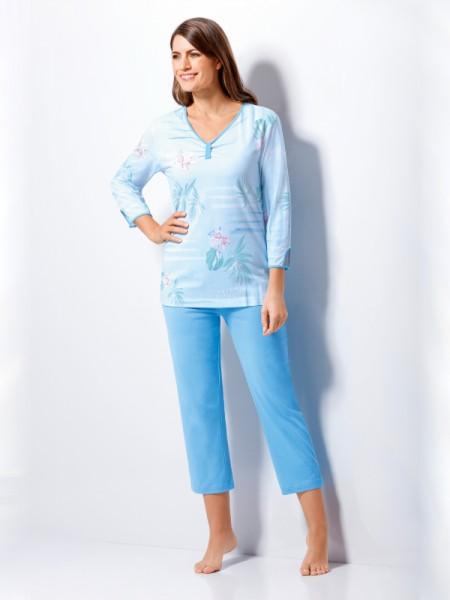 Damen 3/4 Schlafanzug hellblau Blumen hajo