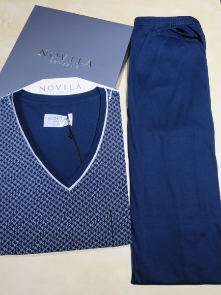 Herren Schlafanzug Sir dunkelblau gemustert NOVILA