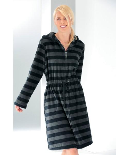 Damen Bademantel schwarz Streifen CAWÖ