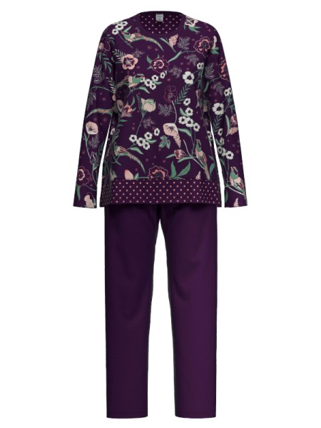 Damen Schlafanzug aubergine Blumen AMMANN